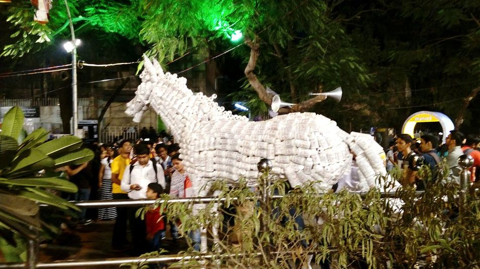Celebration Tourism Travel Lighting Decoration Indian Culture  Famous Tourist Attractions Kalaghodaartfestival Kalaghoda🐴 Art And Craft Outdoors Arts Culture And Entertainment Illuminated Animal Representation Horse