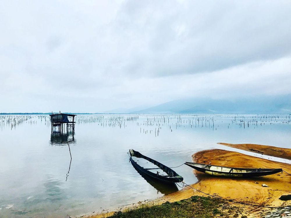Beach Lagoon Travel Adventure Shore Fishing Village Fishing Vietnam Travel Solo Adventure Boat Canoe Water Sky Cloud - Sky Scenics Tranquility Outdoors Nature