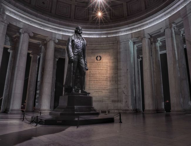 A clean shot of Thomas Jefferson in between tourists Thomas Jefferson Memorial Jefferson Memorial Washington DC Historical Monuments Nightphotography Long Exposure Cities At Night