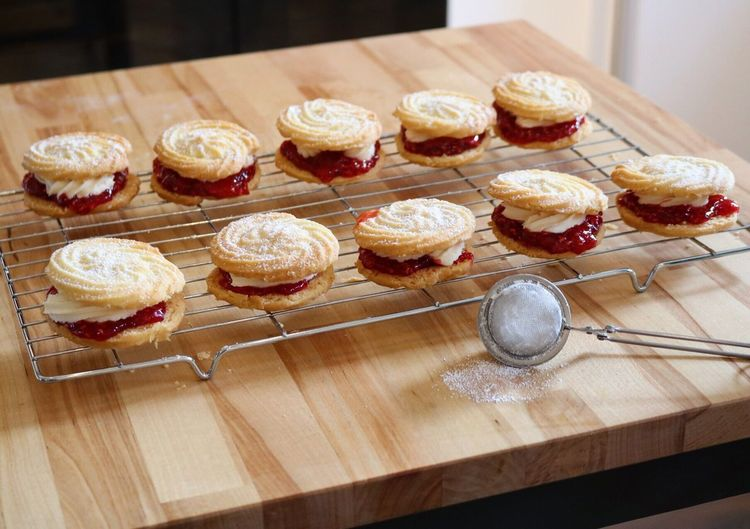 Viennese whirls Food And Drink Food Sweet Food In A Row Freshness Indoors  High Angle View Variation Large Group Of Objects Indulgence Group Of Objects Dessert Choice Order Arrangement Temptation Abundance Ready-to-eat Assortment Collection Baking Viennese Whirls