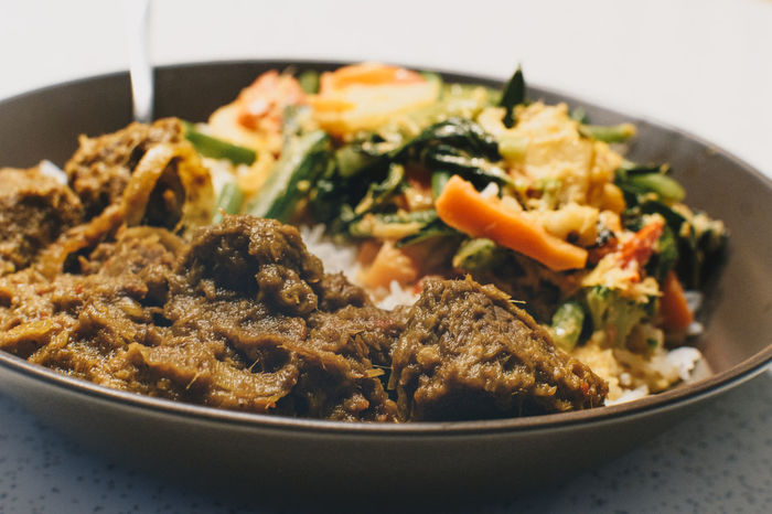 indonesian rendang with vegetables Bowl Close-up Day Food Food And Drink Freshness Healthy Eating Indonesian Indoors  No People Ready-to-eat Rendang Serving Size