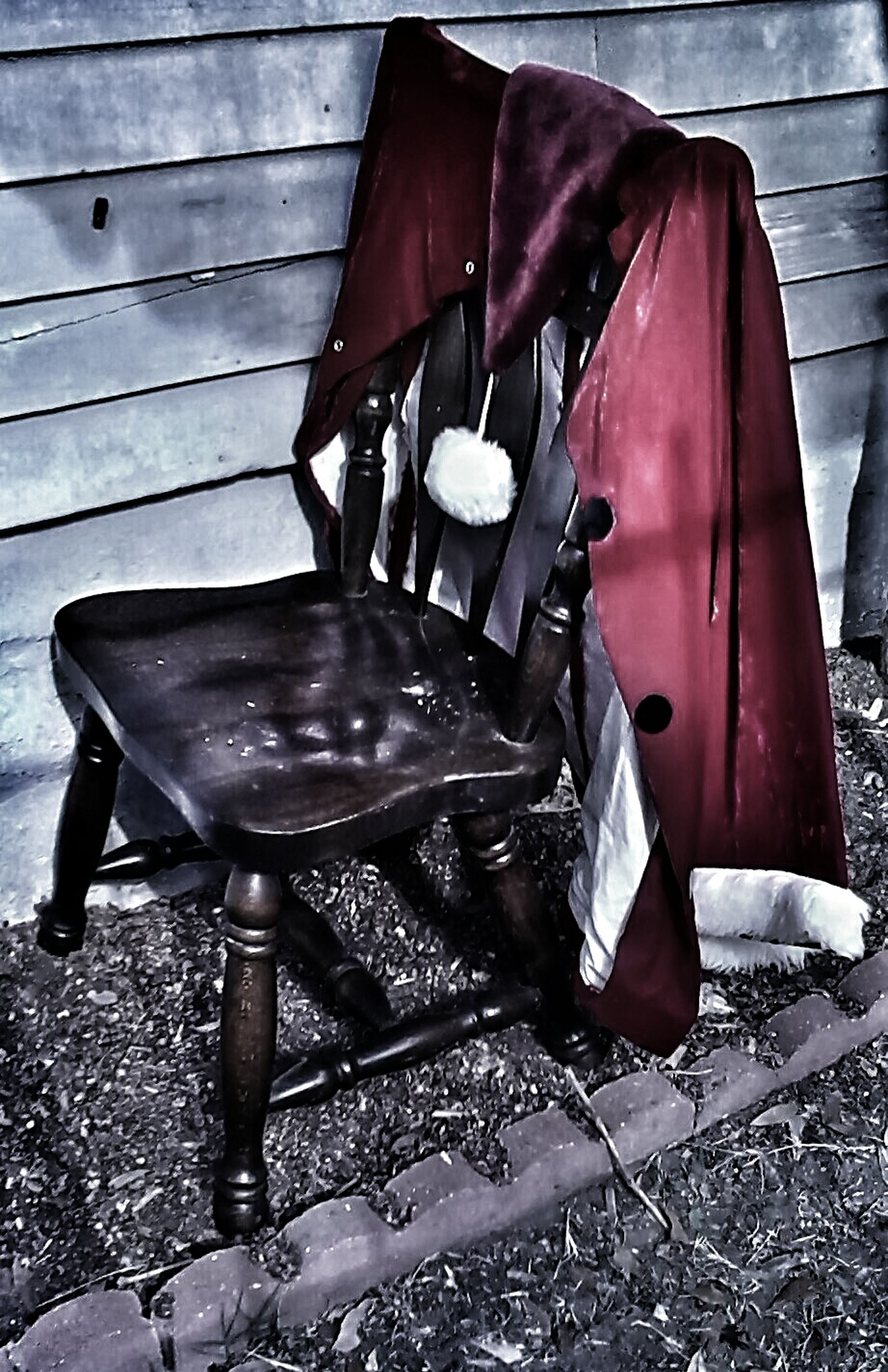 chair, sunlight, absence, table, hanging, day, outdoors, shadow, no people, furniture, still life, empty, seat, abandoned, close-up, wood - material, old, red, metal, old-fashioned