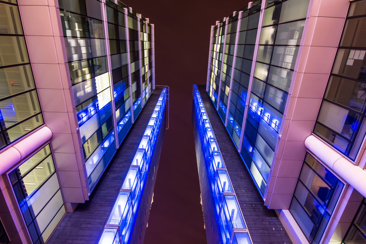 illuminated, architecture, built structure, indoors, blue, night, technology, no people, futuristic