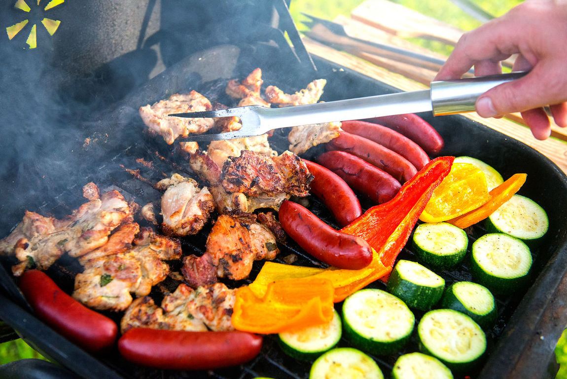 ideal holiday Backgrounds Barbecue Barbecue Grill Broil Chiken Close-up Day Food Food And Drink Food And Drink Freshness Grilled Healthy Eating Human Body Part Human Hand Meat One Person Outdoors People Preparation  Real People Sausage Serving Tongs Skewer Vegetable