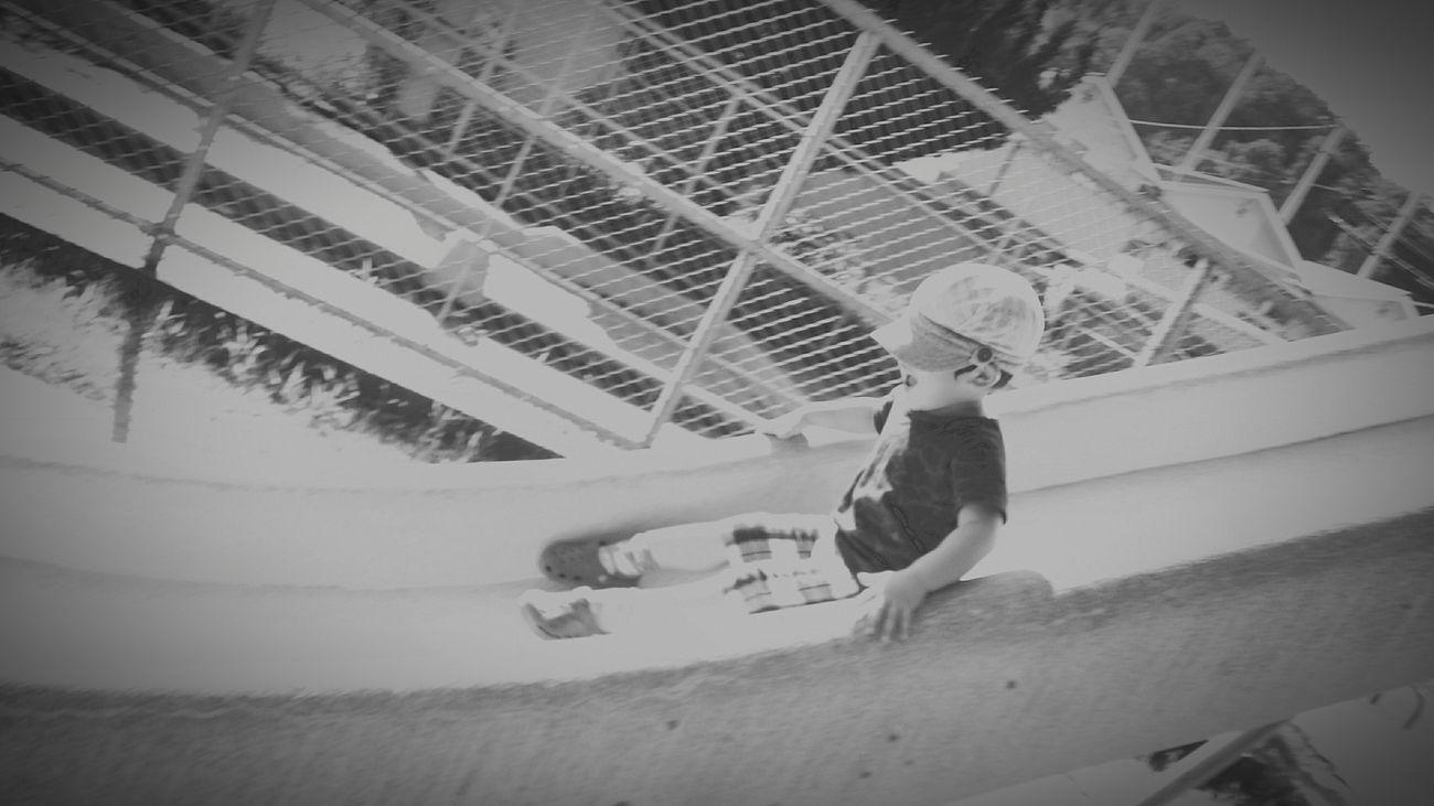 [16.08.21] シュー。 Child Black & White Monochrome City Life Pixlr Japanese  Person Cool Japan Japan Park Outdoors Day Creative Light And Shadow One Person People Enjoying Life Black And White Playing Slide