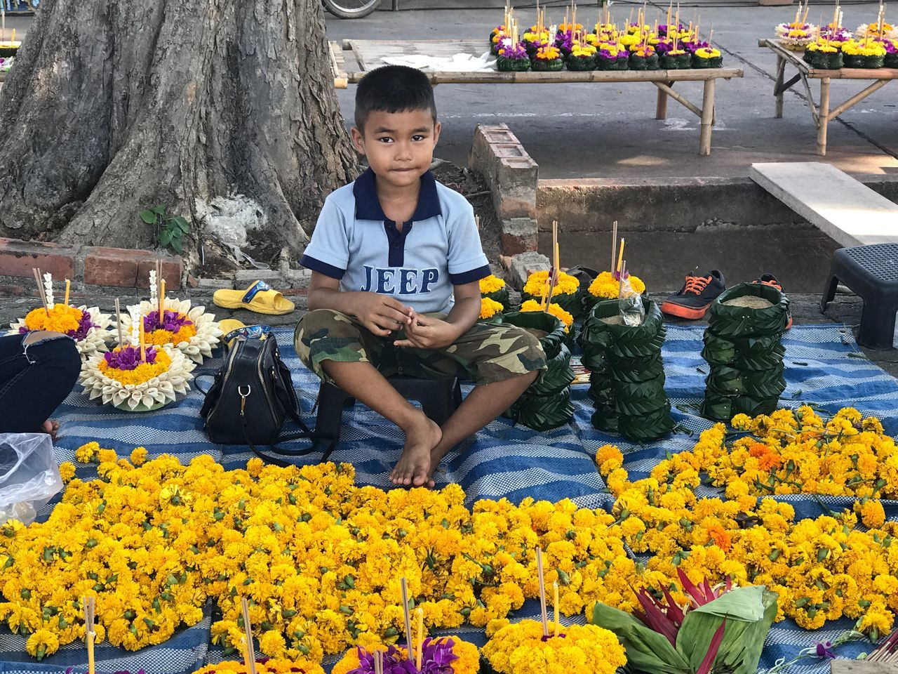Boy Kratong Banana Leaf Bowl Asian  Asian Culture ASIA Thailand Thaiculture Festival Flowers Yellow
