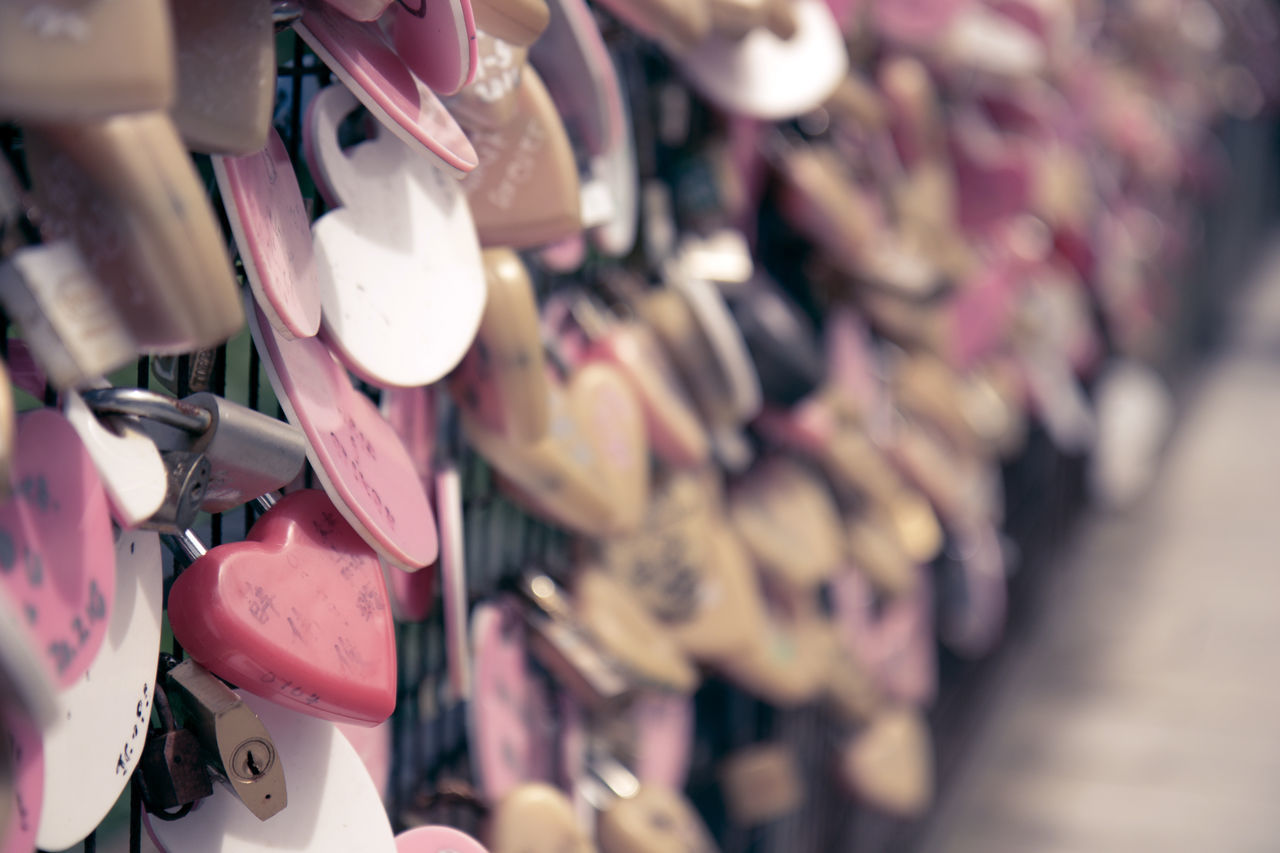 Abundance Close-up Day Hanging Hearts In A Row Large Group Of Objects Love Lock No People Outdoors Padlocks, Lovers Locks, Promises, True Love, Romance Selective Focus