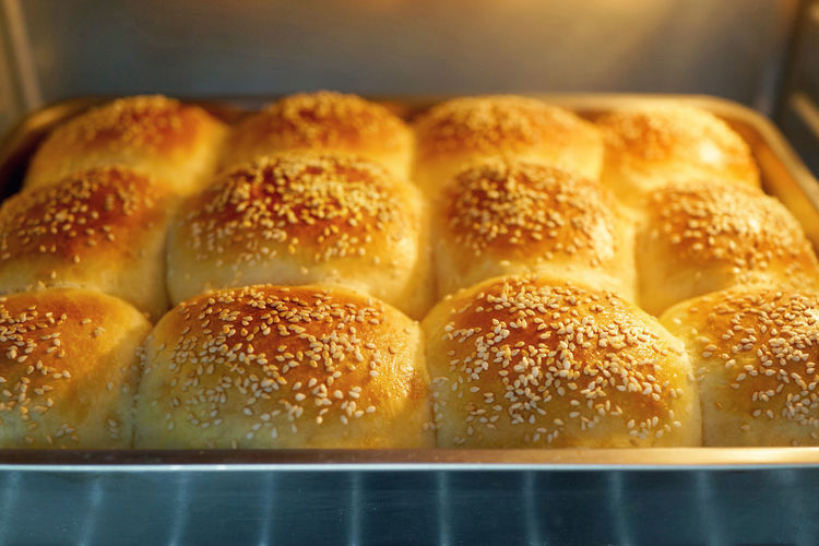 Freshly baked dinner rolls from oven Breakfast Dinner Roll Double Exposure Homemade Oven Tray Baking Bread Breads Bun Food Food And Drink Freshness Healthy Eating Hot Kitchen Sesame Seed