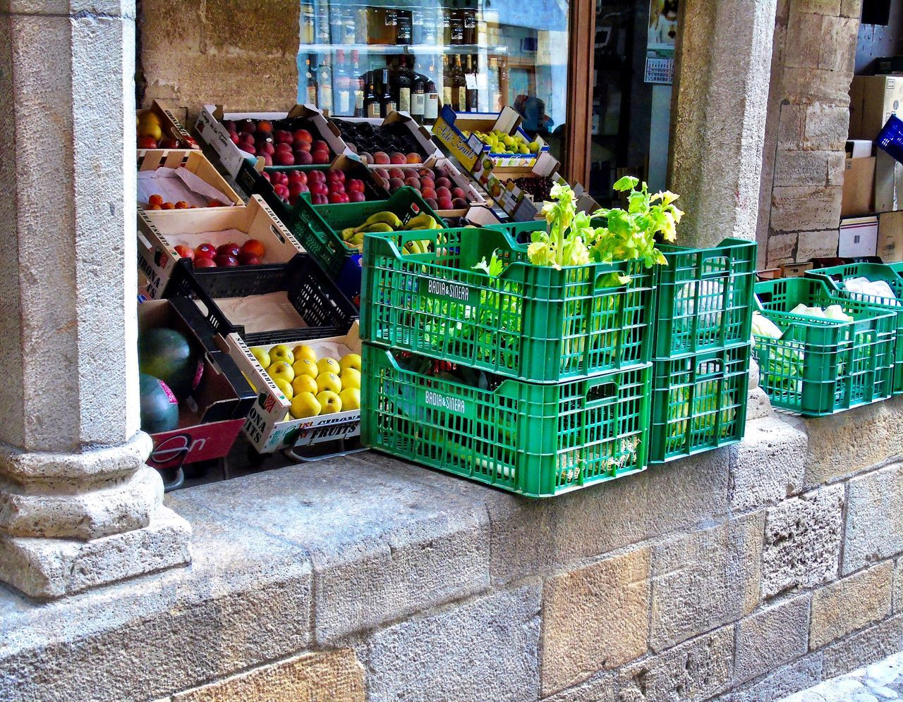 food and drink, vegetable, food, healthy eating, retail, freshness, crate, variation, outdoors, day, market, fruit, no people, architecture, supermarket
