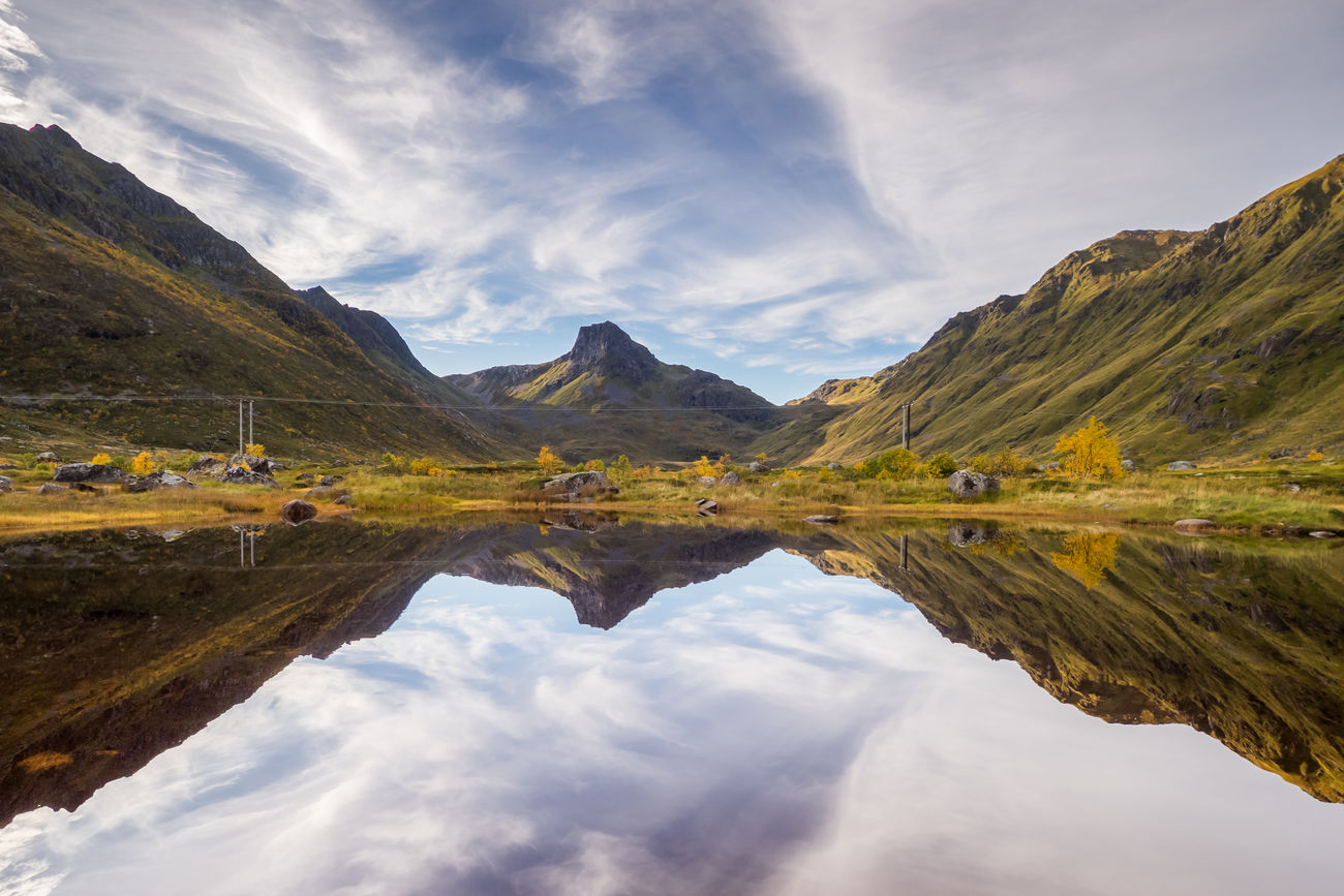 Autumn Autumn Colors Beauty In Nature Cloud - Sky Day Idyllic Lake Landscape Lofoten Mountain Mountain Range Mountains Nature No People Outdoors Reflection Scenics Sky The Great Outdoors - 2017 EyeEm Awards Tranquil Scene Tranquility Travel Destinations Water Waterfront