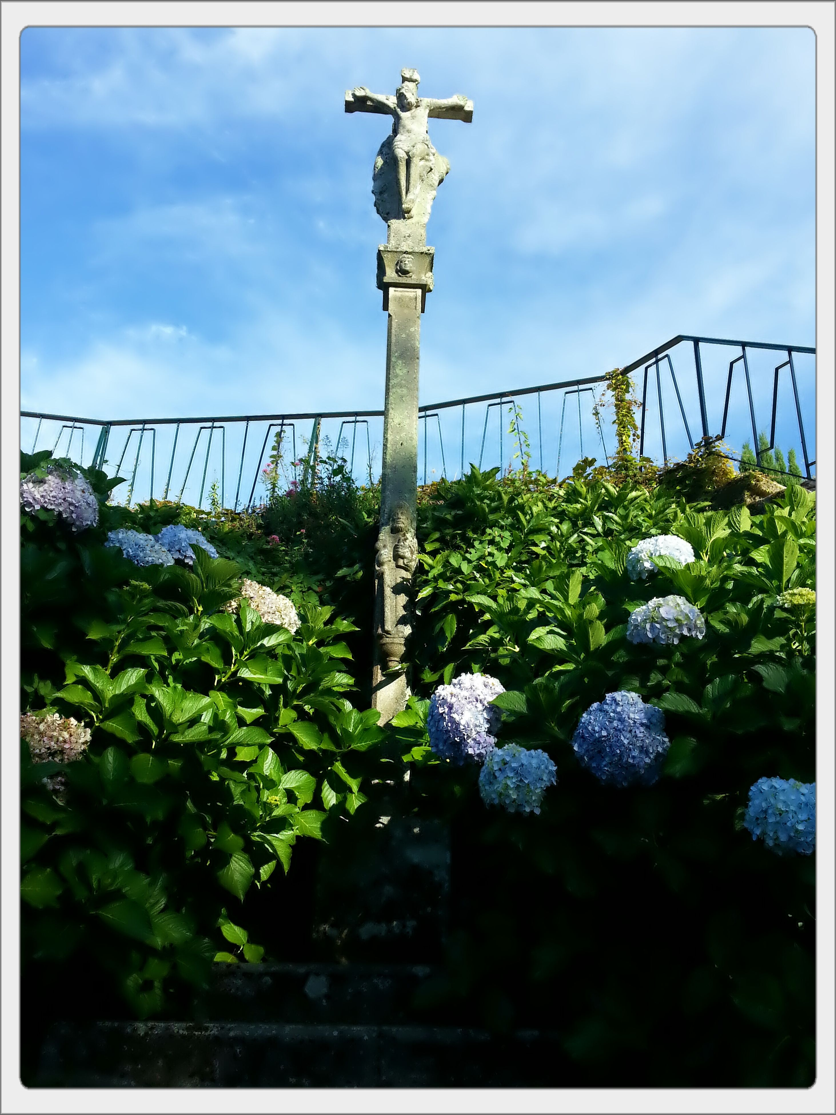 transfer print, sky, sculpture, statue, auto post production filter, human representation, plant, cloud - sky, low angle view, flower, art and craft, growth, art, creativity, cloud, day, green color, nature, no people