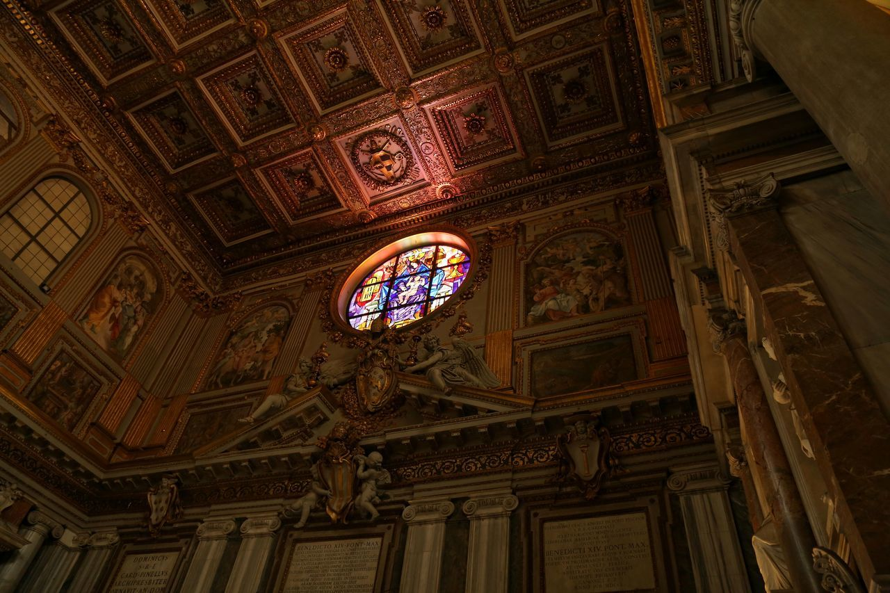 And there was light.. Architecture Indoors  Ceiling No People Photography Canon 5d Mark Lll Interior Church Rome Italy Travel Destinations Low Angle View Stained Glass Stained Glass Window