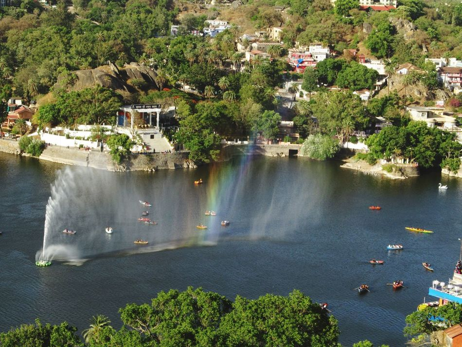 Lake Water Rainbow Boats And Water Day Outdoors Mount Abu Rajasthan, India