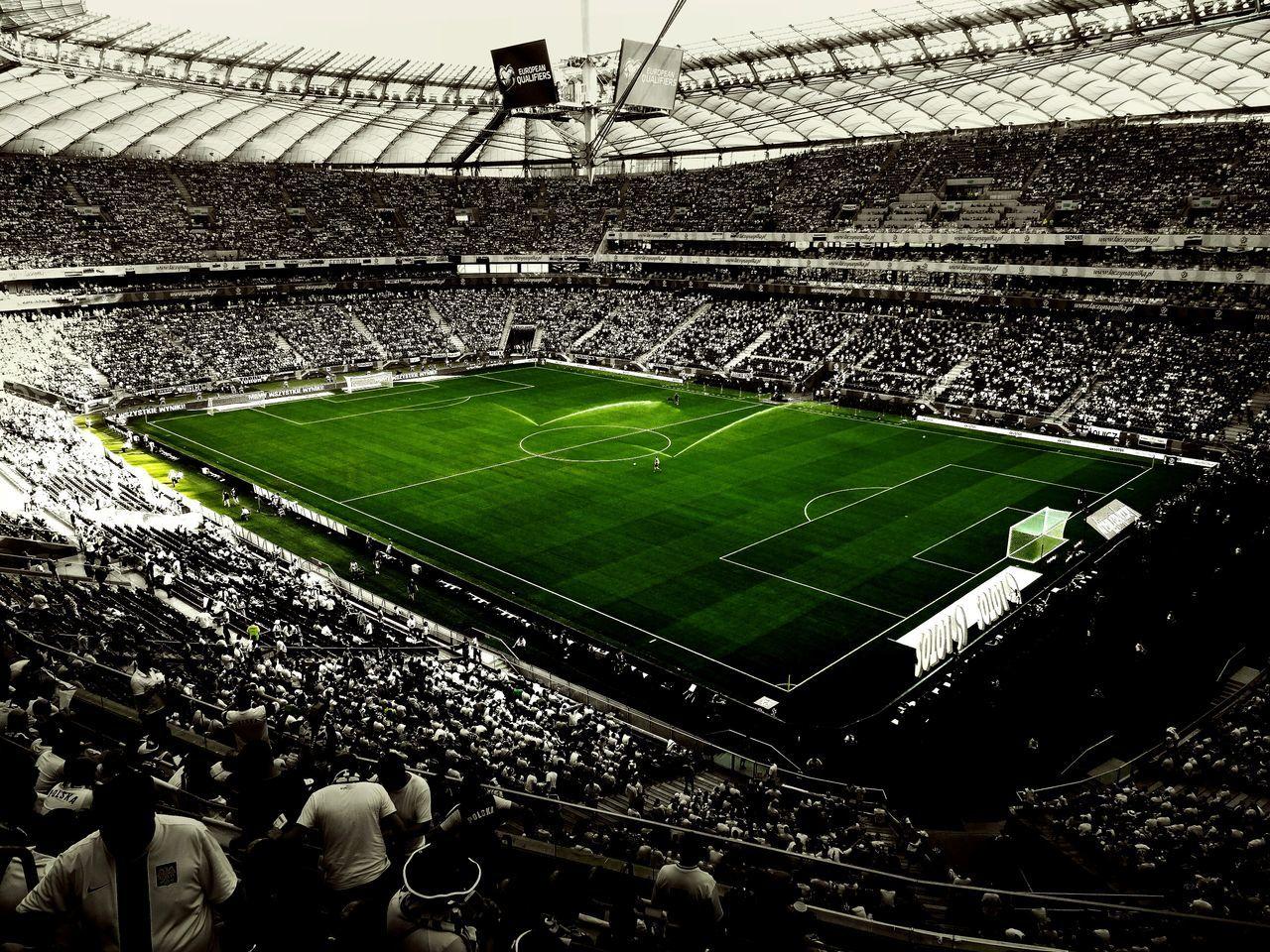 soccer, sport, stadium, football, soccer field, grass, playing field, team sport, day, outdoors, sports team, no people