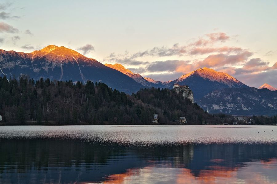 Lake Bled Sunset Mountain Landscape Lake Mountain Peak Beauty Cloud - Sky Natural Parkland Water Nature No People Sky Beauty In Nature Outdoors Slovenia Bled, Slovenia Bled Castle Bled Island Bled Bled Lake