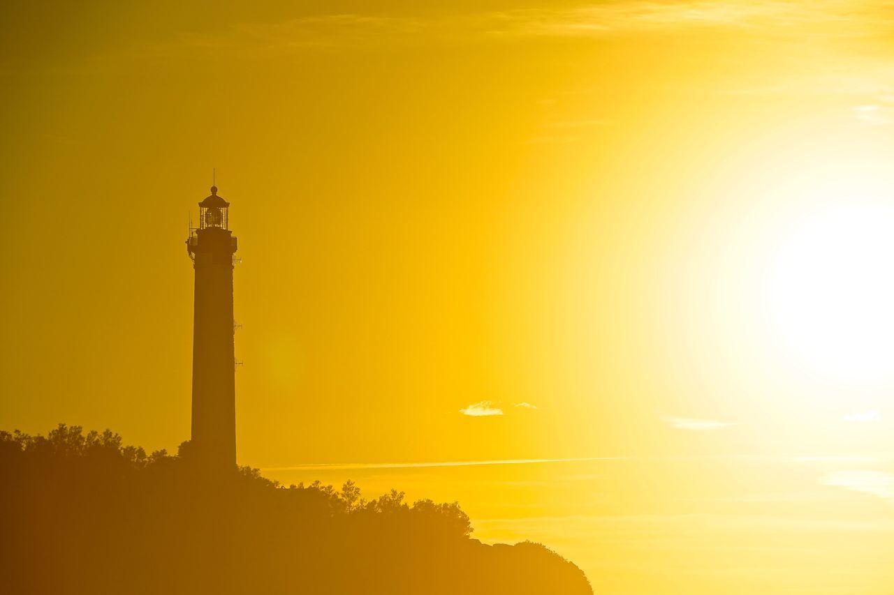 Beauty In Nature Biarritz Close-up Gold Golden Hour Lighthouse Lightporn Nature Night No People Outdoors Phare Sea Sky Sun Sunlight Sunset Sunshine Yellow