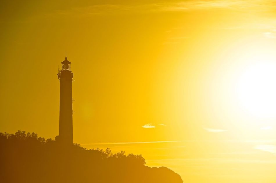 Beauty In Nature Biarritz Close-up Gold Golden Hour Lighthouse Lightporn Nature Night No People Outdoors Phare Sea Sky Sun Sunlight Sunset Sunshine Yellow