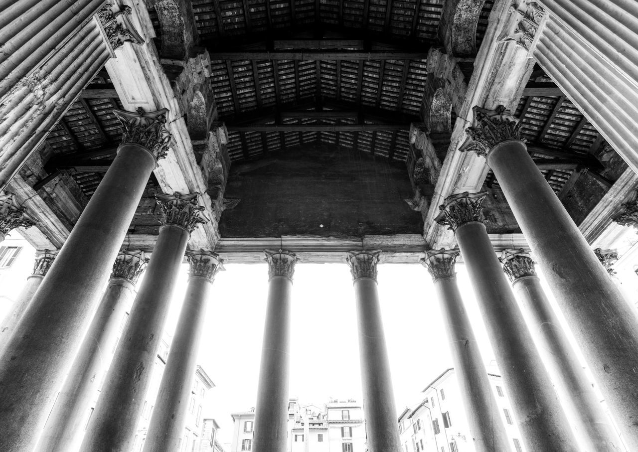 Pillars of Faiths. Architecture Architectural Column Built Structure Low Angle View History Building Exterior Day Pantheon Architecture Church Rome Roma Europe Rome Italy Italia Bella Italia Italy❤️ Black & White Black And White Blackandwhite Overexposed Fortheloveofblackandwhite Pillars Lookingup Pantheon Rome