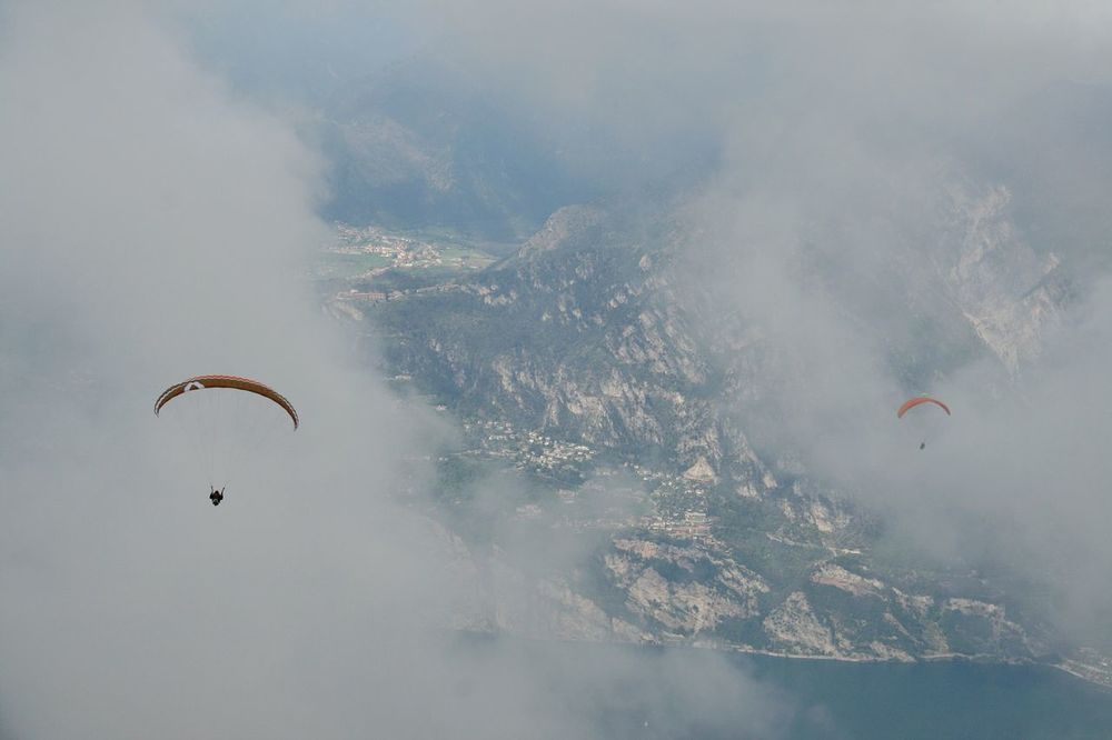 Two ıs Better Than One CloudsParagliding Paragliders Flying Extreme Sports Cloud - Sky Paragliding Different Perspective Garda Lake Italy Gardasee,Italien Bella Italia Lake Garda Malcesine Monte Baldo Two Is Better Than One