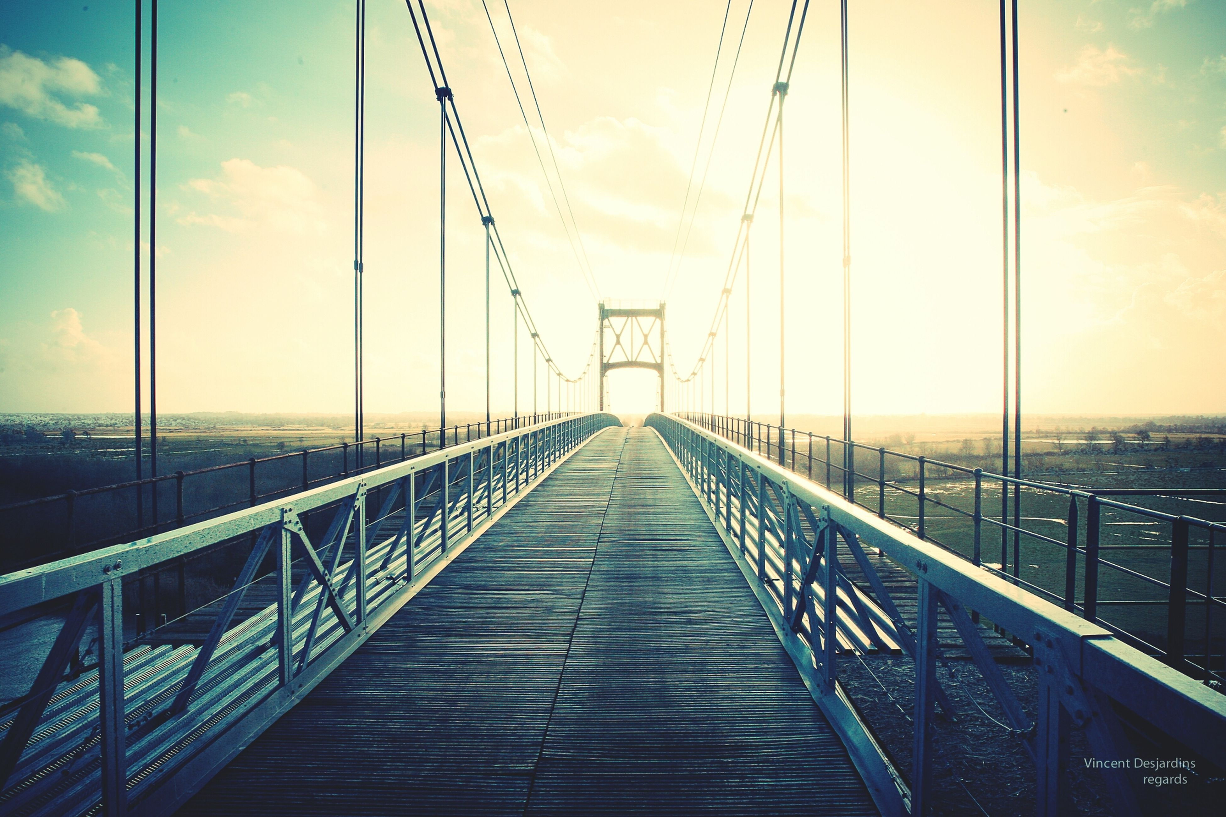 the way forward, diminishing perspective, connection, railing, sky, sea, built structure, vanishing point, water, bridge - man made structure, long, pier, architecture, tranquility, bridge, engineering, suspension bridge, nature, tranquil scene, transportation