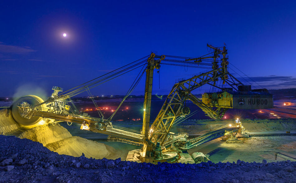 Russia, Stary Oskol, Stoilensky GOK, bucket wheel excavator, Stripping Architecture Blue Bucket Wheel Excavator Built Structure Capital Cities  City City Life Connection Development Engineering Illuminated Light Trail Night No People Outdoors Sky Stripping The Land Travel Destinations