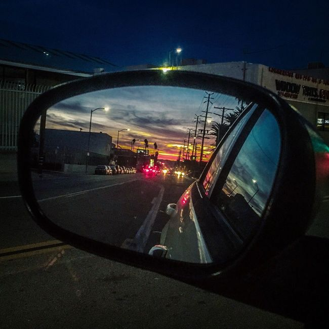 Beautiful L.A sunset after the rain Car Transportation Land Vehicle Road Reflection Mode Of Transport Sky No People Side-view Mirror City Illuminated Outdoors Close-up Night Vehicle Mirror