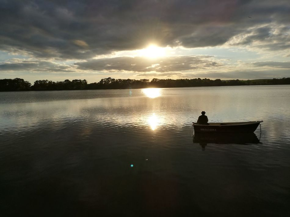 Lake Mazury Ełk Summer Views Sunset_collection Sunset Sky And Clouds Sky Boat Fishing Fishman Poland