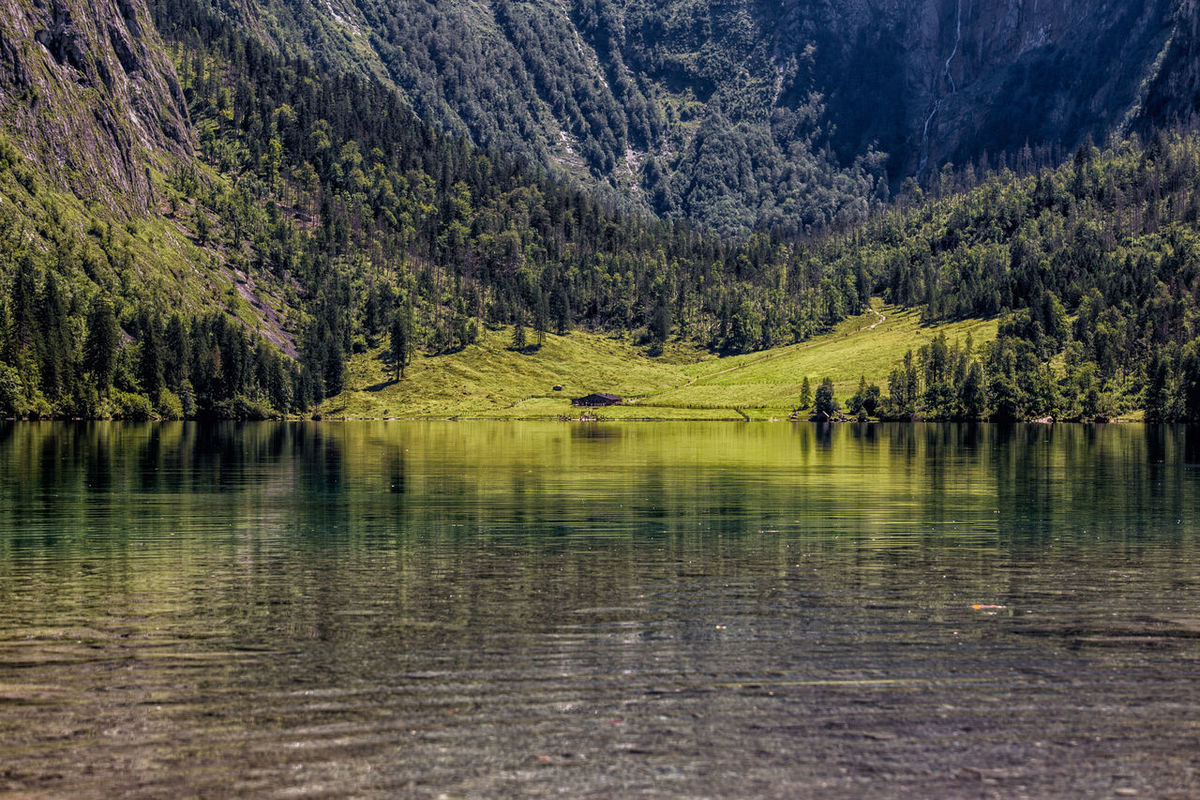 Alps Bavarian Alps Cabin In The Woods Konnigsee Lake View Reflections In The Water Schoenau Schönau Am Königsee