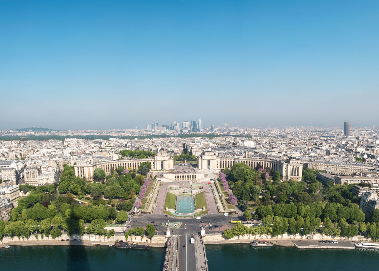 Architecture Blue Built Structure City Cityscape Clear Sky Copy Space Day Eiffel Tower Formal Garden Green Color History Outdoors River Seine Shadow Sky Springtime Tourism Travel Travel Destinations Tree Trocadero Urban Skyline Water