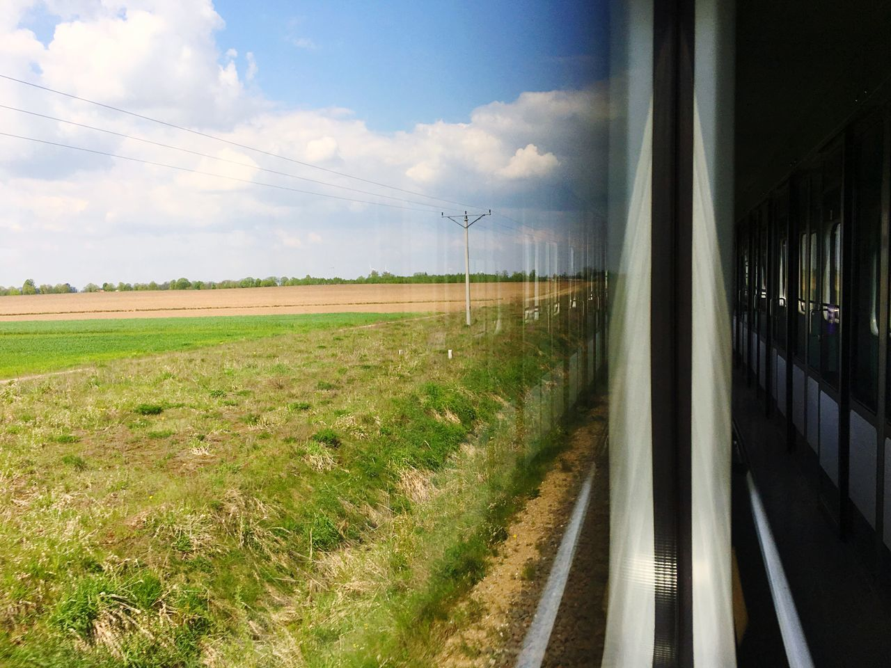 In the train Sky Field No People Day Nature Cloud - Sky Landscape Grass Road Beauty In Nature Outdoors Train Trip Nature Vehicle Window Corridor Empty Perspective Voyage Move