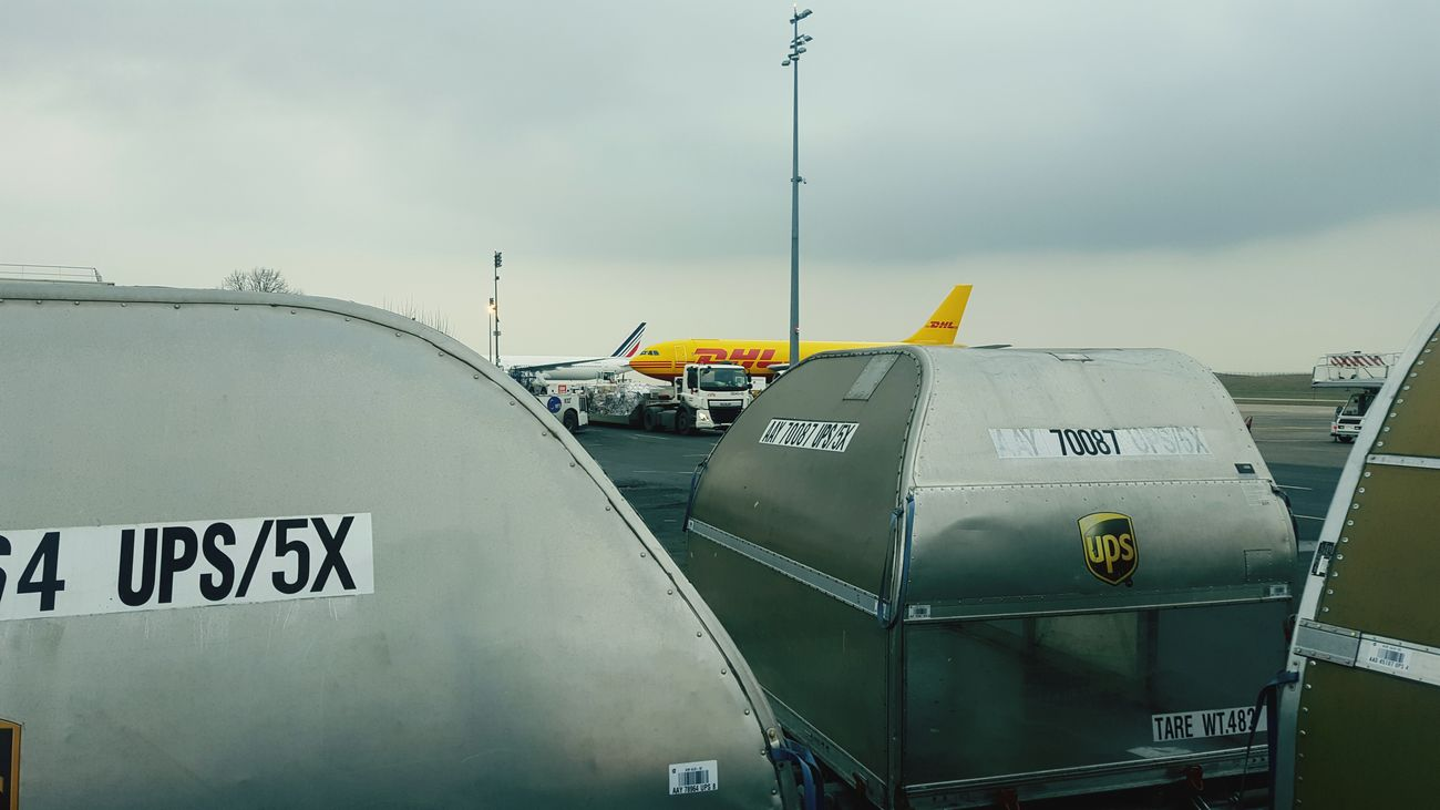 Thats my job.Vscocam Travel Airplane Airport Sky No People Truck Logistics Air Freight Freight Transportation Freight