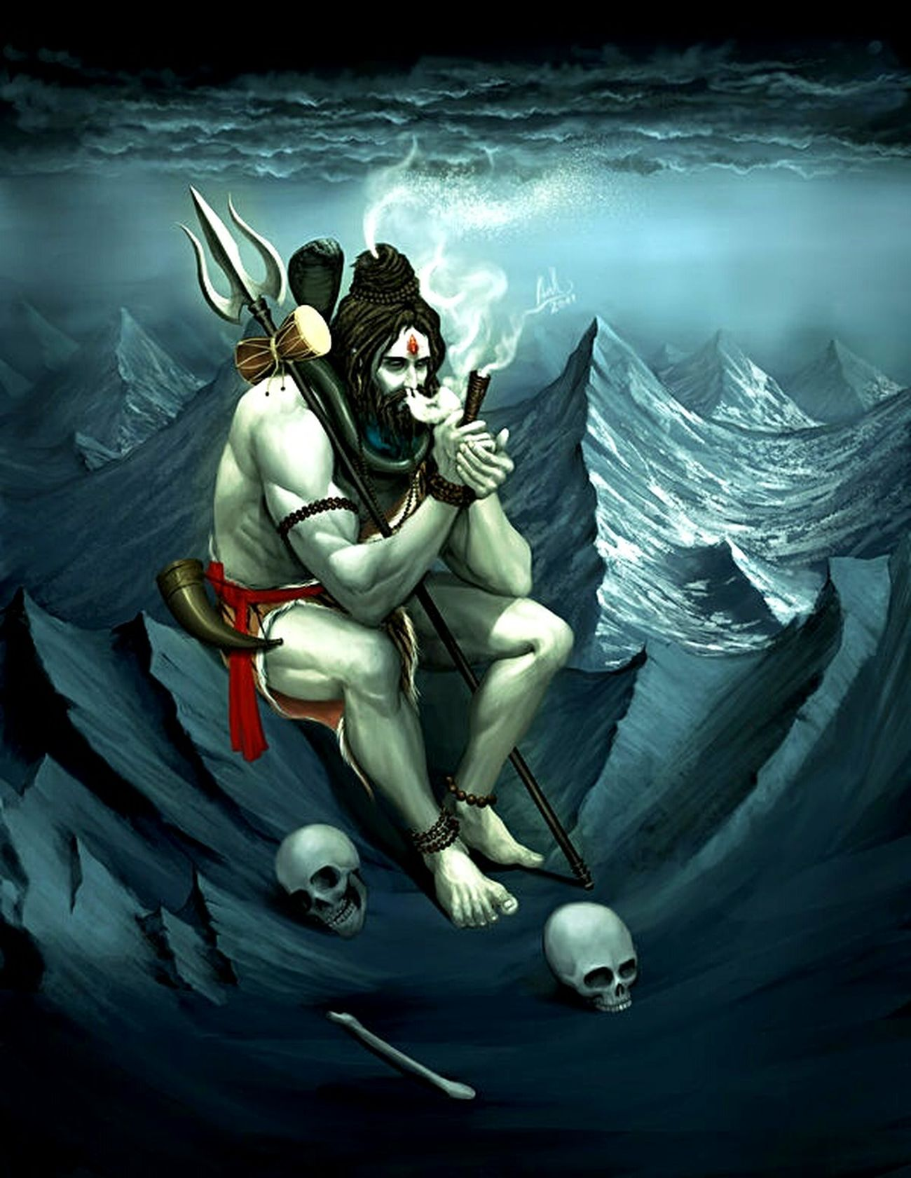 Lord Shiva Bholenath Mahadevan Nataraja Har Har Mahadeba The Destroyer Of Evil Smoking Weed