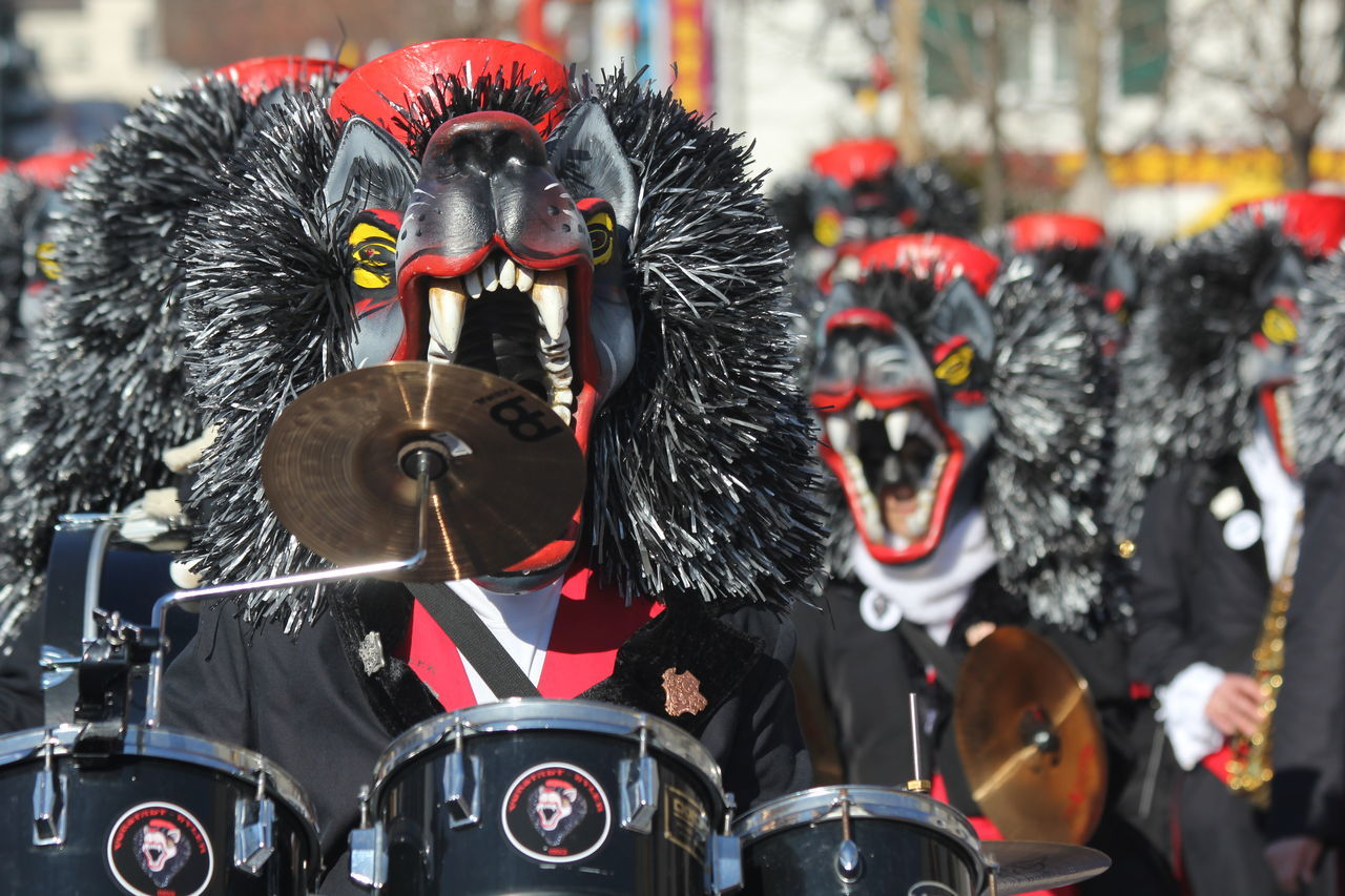 Fasnacht 2017 Band Carnival Celebration Drums Fasnacht 2017 Festival Marching Band Mask Musicians Reinach Swiss Culture Switzerland Tourism Tradition Waggis WOlves Music