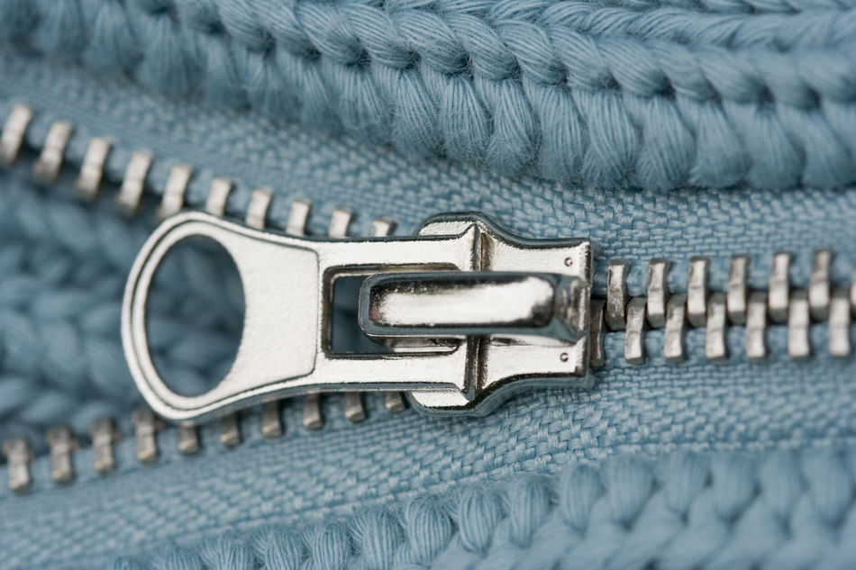 Close-up of an Open Zipper - part of a sweater Casual Clothing Close-up Connection Design Detail Full Frame Interlocked Knit Knitted  Knitting Metal No People Open Relief Shiny Steel Sweater Symmetry Textile Textured  Textures And Surfaces Turquoise Warm Clothing Wool Zipper