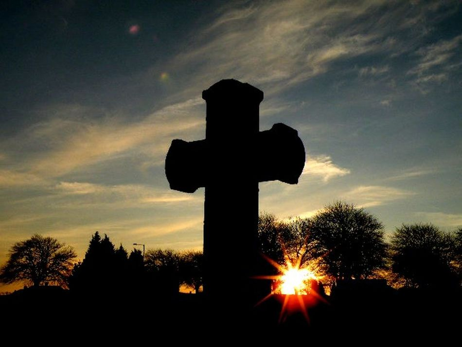 Cemetery Cloud Found On The Roll Silhouette Sky Stone Cross Sun Sunset