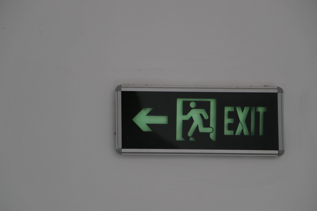Close-up Day Direction Emergency Exit Exit Sign Green Color Guidance Indoors  No People