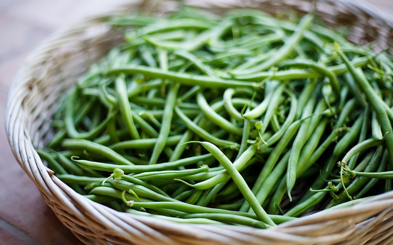 Green Beans In Basket On Table