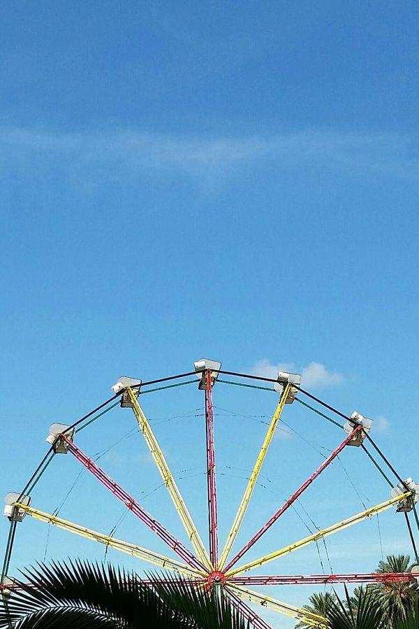 Ferris Wheel Blue Sky Lookingup Skyward Lines Summer Sky  Negative Space
