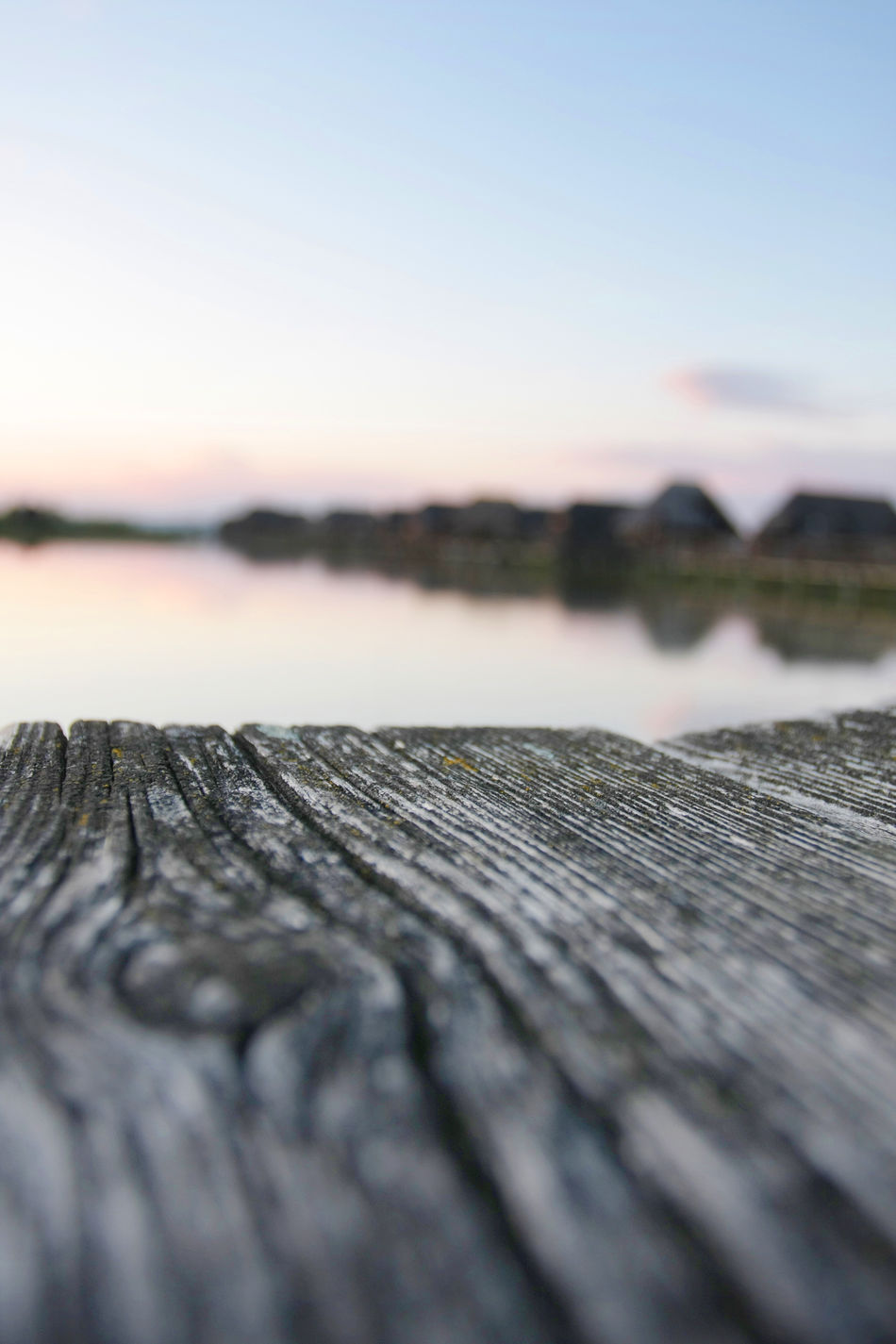 Beauty In Nature Blue Boardwalk Building Close-up Day Focus On Foreground Idyllic Landscape Nature No People Outdoors Scenics Selective Focus Sky Surface Level Tranquil Scene Tranquility Wood Wood - Material Wooden