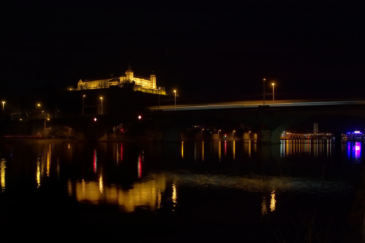 Architecture Building Exterior Built Structure City Festung Illuminated Main Malephotographerofthemonth Night No People Outdoors Reflection Sky Travel Destinations Water Waterfront Würzburg