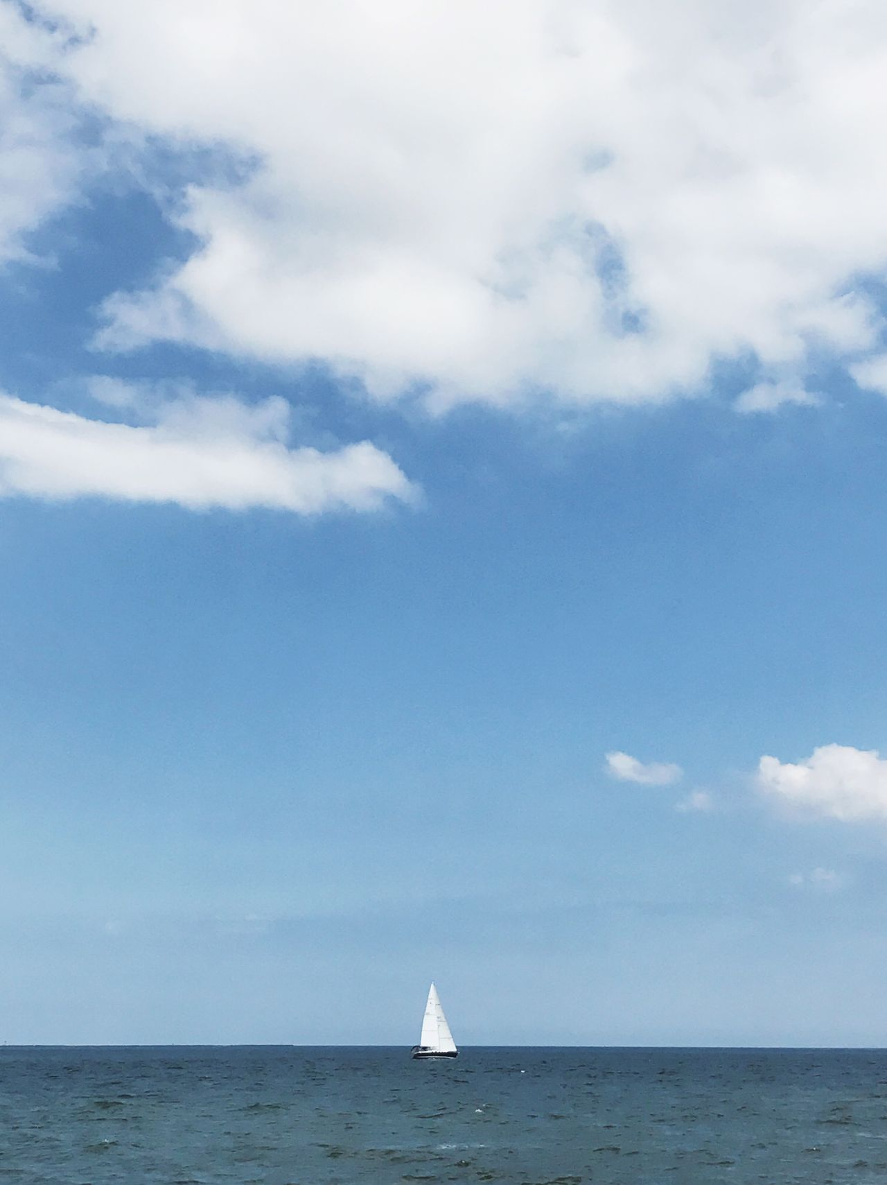 Sky Sea Cloud - Sky Horizon Over Water Water Scenics Nautical Vessel Tranquil Scene Nature Beauty In Nature Tranquility Day Transportation Sailing Waterfront Sailboat Outdoors Horizon No People