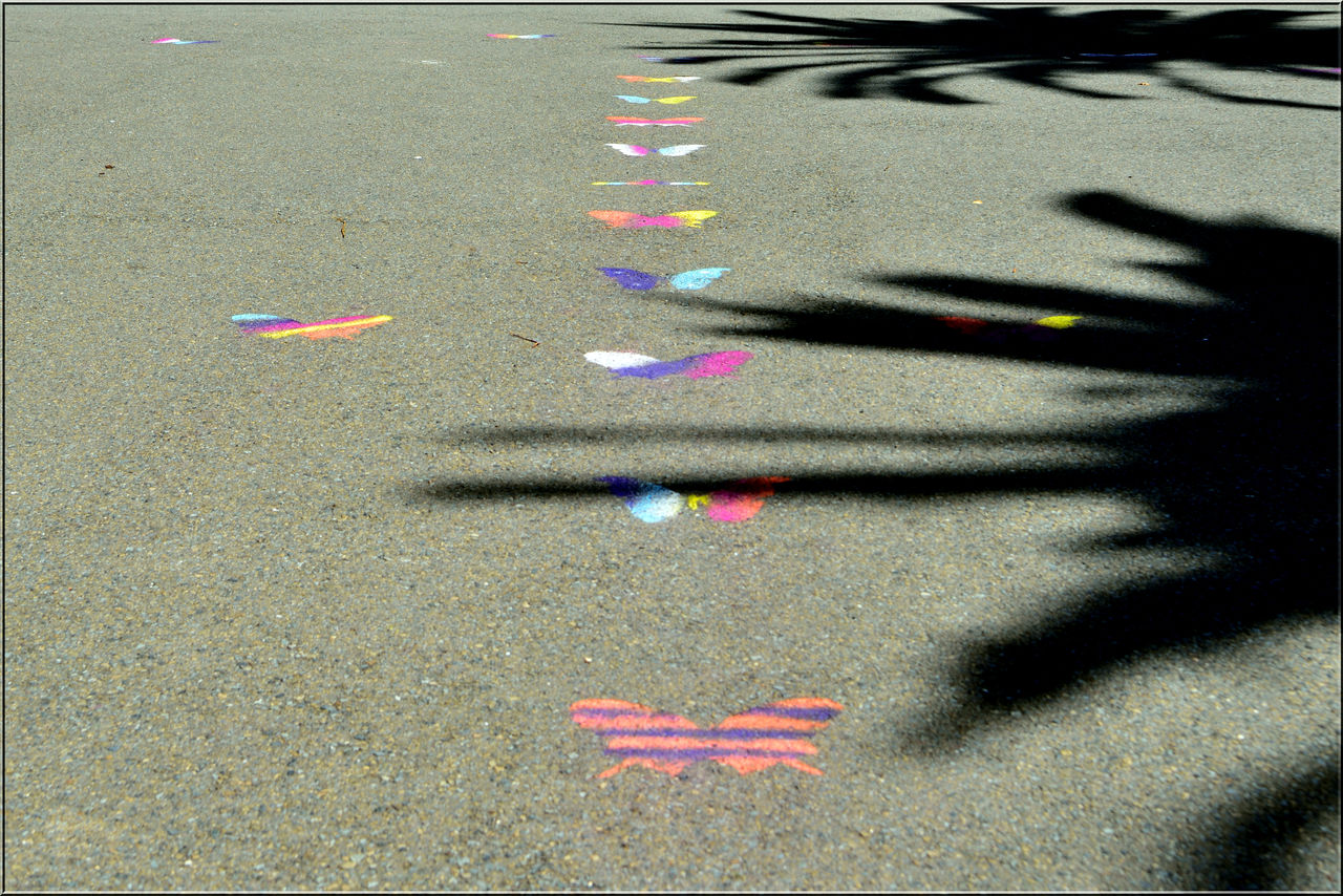 street, road, day, outdoors, transportation, shadow, no people, multi colored, nature