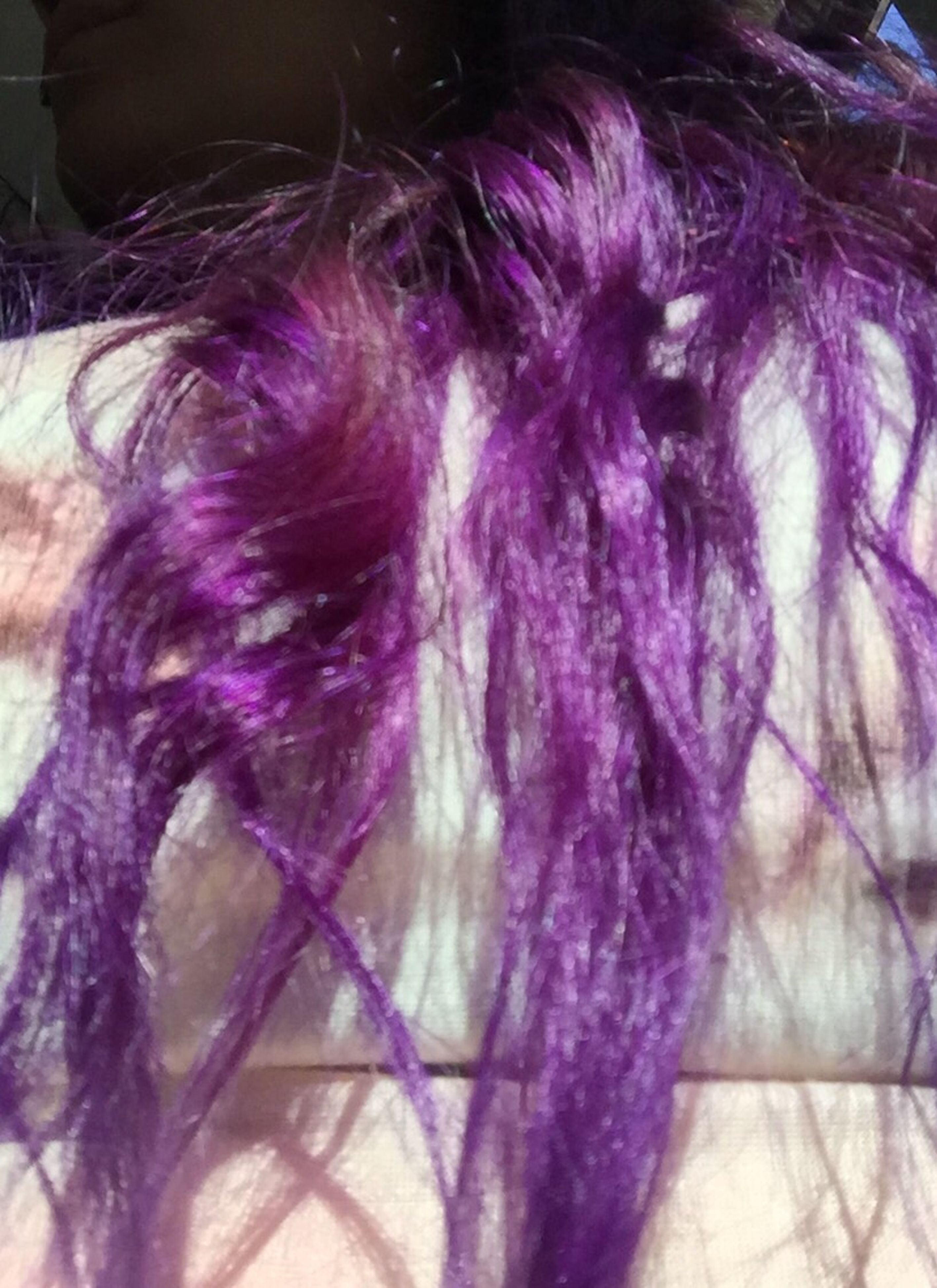 human hair, purple, one person, indoors, close-up, real people, day, people