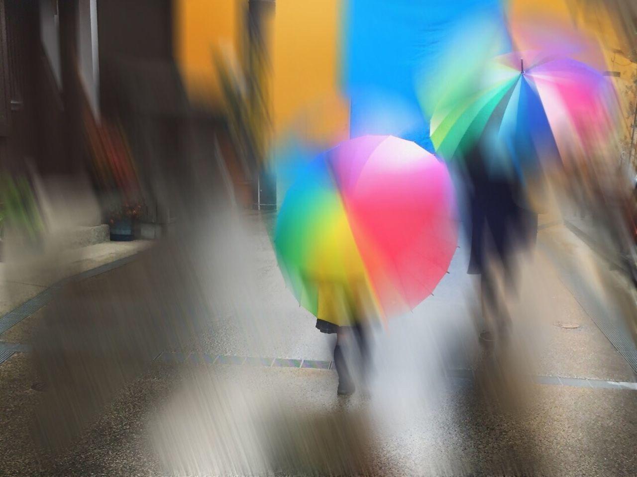 Real People Motion Japan Outdoors Street Photography Blurr Rainy Days Rainbow Umbrella