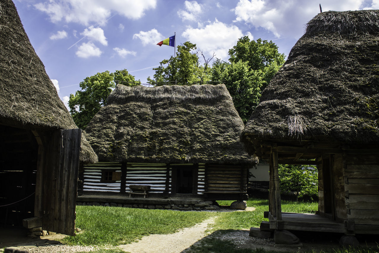 day, built structure, outdoors, architecture, thatched roof, sky, tree, building exterior, no people, nature, growth, grass
