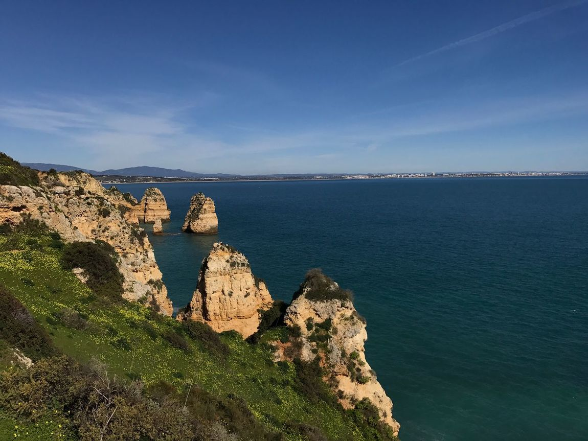 Ponta Da Piedade Lagos Algarve Portugal Sea Beauty In Nature Scenics Nature Tranquility Sky Horizon Over Water Tranquil Scene Water Idyllic Outdoors No People Day Scenic Lookout