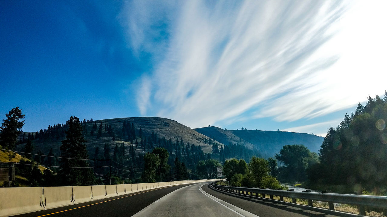 The Way Forward Sky Highway Landscape Vacations No People Outdoors Nature Travel Traveling Roadtrip Exploring Hillscape Trees Sightseeing Summer EyeEmNewHere Mountians Explore Senic Driving Day Road Guardrail Senic View EyeEmNewHere Miles Away