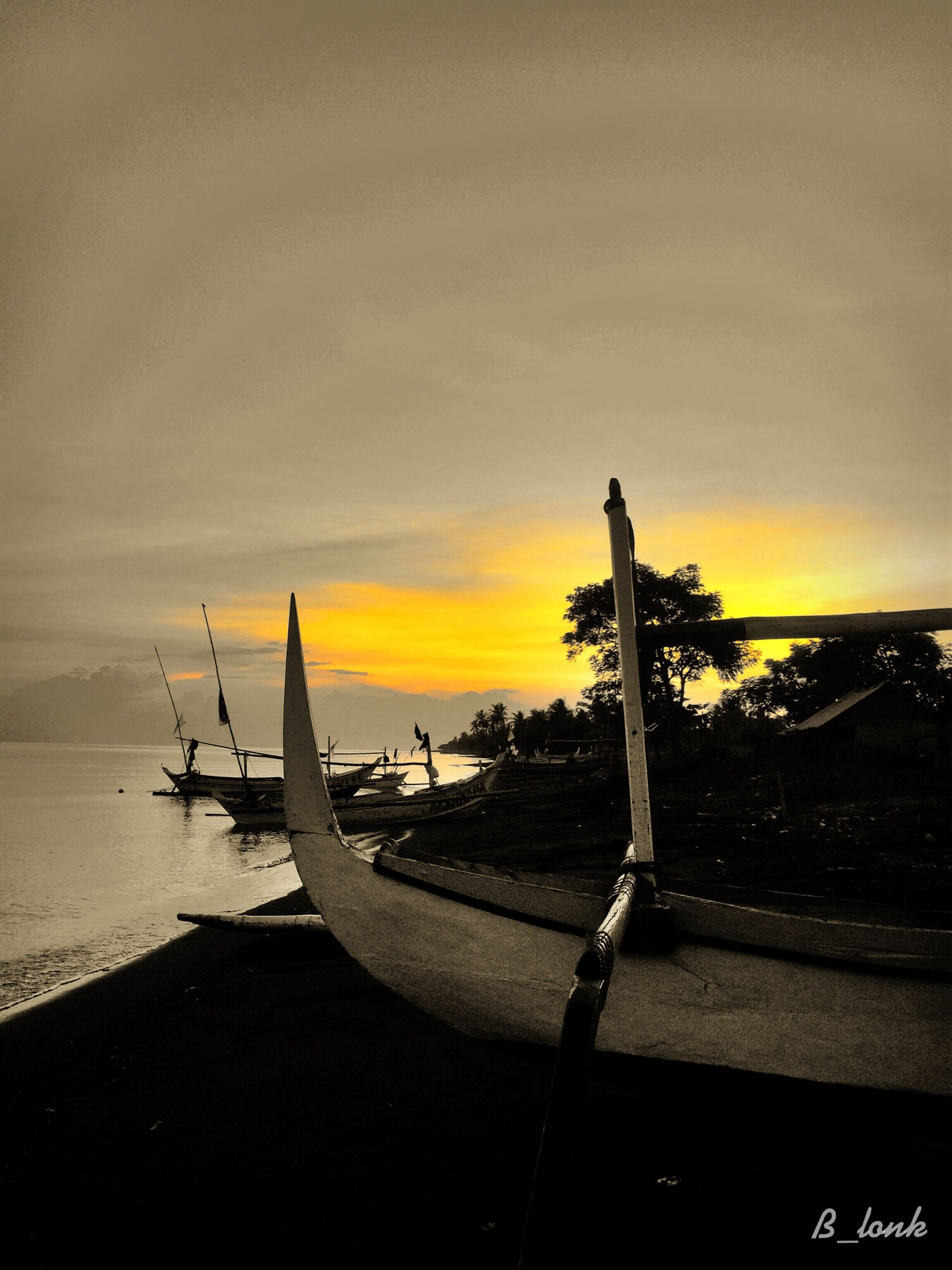 sunset, sea, horizon over water, sky, water, beach, scenics, orange color, beauty in nature, transportation, tranquility, tranquil scene, nature, cloud - sky, shore, mode of transport, silhouette, idyllic, outdoors, nautical vessel
