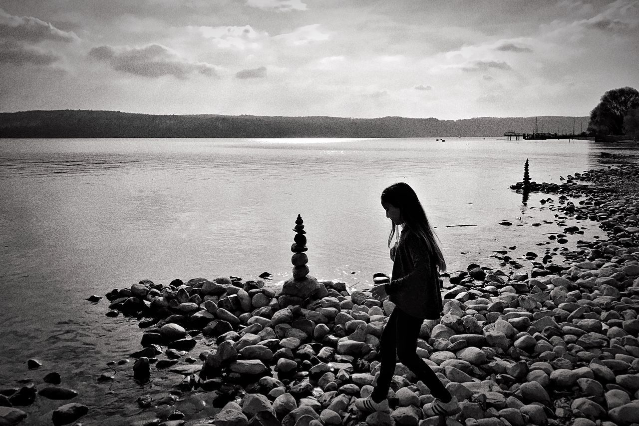 Water Sea Tranquility Nature Tranquil Scene Sky Outdoors Beauty In Nature One Person Scenics Real People Day Pebble Beach One Woman Only Pebble Beach People Adult Blackandwhite Silhouette