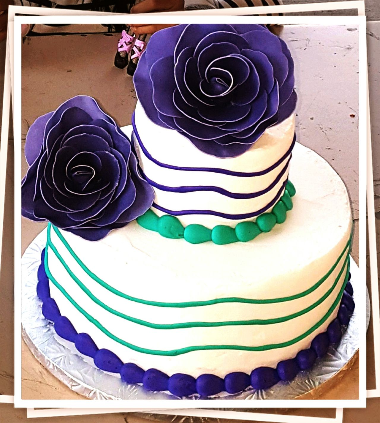 Delicious Cake  Purple White Turquoise White Spiral Against Purple Girls Birthday Cake